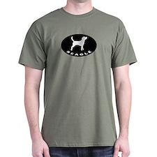 b&w beagle dog Black T-Shirt