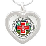 Medical Marijuana Silver Heart Necklace