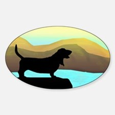 Basset Hound By The Sea Sticker (Oval)