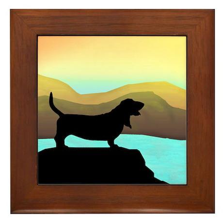 Basset Hound By The Sea Framed Tile
