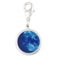 Celtic Blue Moon Silver Round Charm