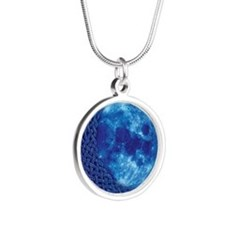 Celtic Blue Moon Silver Round Necklace