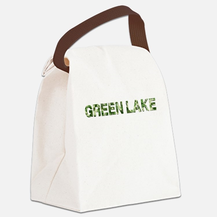 Green Lake, Vintage Camo, Canvas Lunch Bag