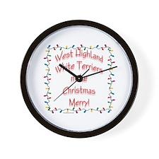 Merry Westie Wall Clock