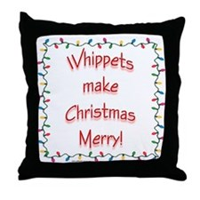 Merry Whippet Throw Pillow