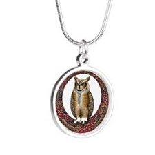 Celtic Owl Silver Round Necklace