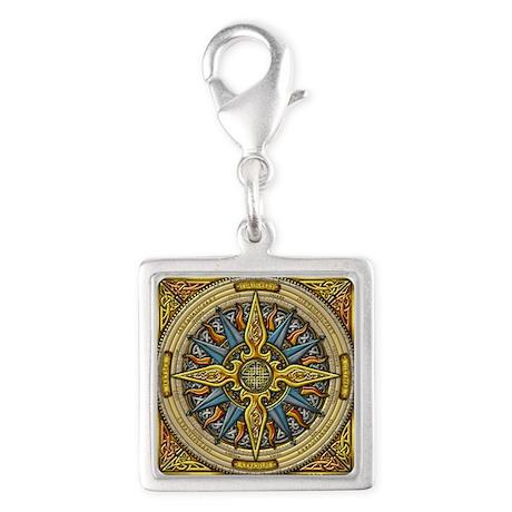 Celtic Compass Silver Square Charm