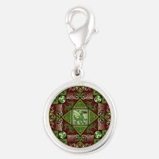 Celtic Dragon Labyrinth Silver Round Charm