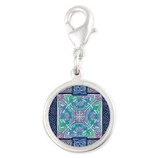Celtic Atlantis Opal Silver Round Charm