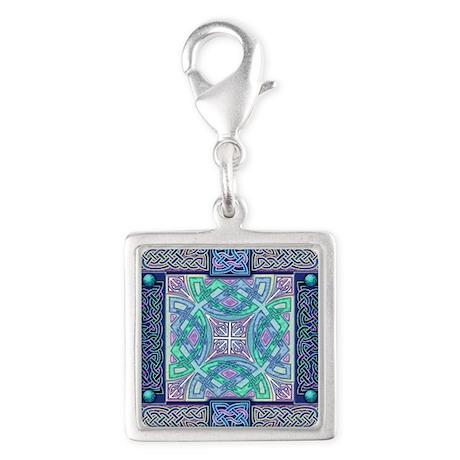 Celtic Atlantis Opal Silver Square Charm