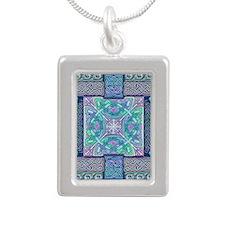 Celtic Atlantis Opal Silver Portrait Necklace