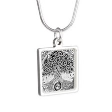 Celtic Tree of Life Ink Silver Square Necklace