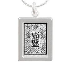 Celtic Knotwork Framing Silver Portrait Necklace