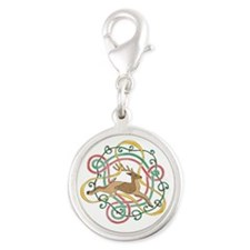 Celtic Reindeer Knots Silver Round Charm