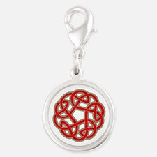 Celtic Christmas Knot Silver Round Charm