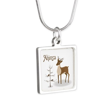 Ahimsa Holiday Silver Square Necklace