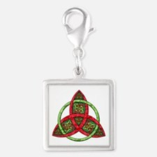 Celtic Holiday Knot Silver Square Charm