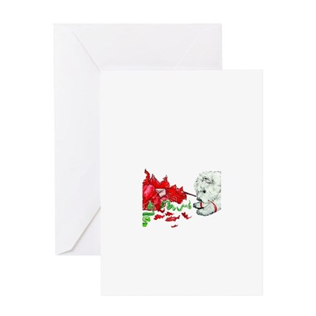Opening gifts Greeting Cards