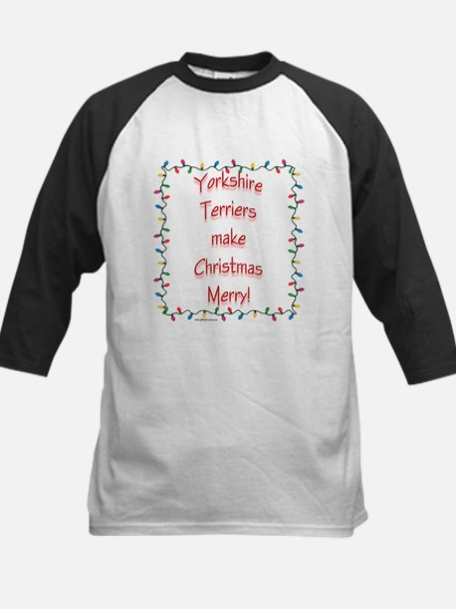 Merry Yorkie Kids Baseball Jersey