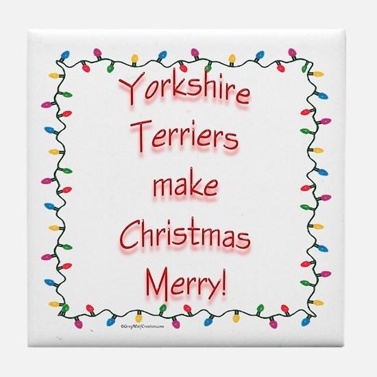 Merry Yorkie Tile Coaster
