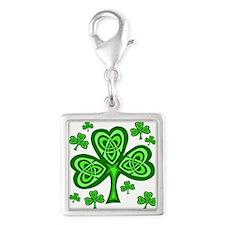 Celtic Shamrocks Silver Square Charm
