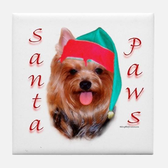 Santa Paws Yorkie Tile Coaster