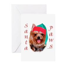 Santa Paws Yorkie Greeting Cards (Pk of 10)