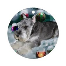 Cute Christmas mini schnauzer Ornament (Round)
