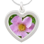 California Wild Rose Silver Heart Necklace