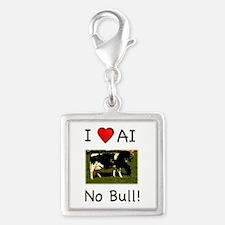 I Love AI No Bull Silver Square Charm