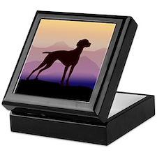 vizsla dog w/purple mountains Keepsake Box