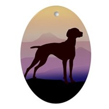 vizsla dog w/purple mountains Oval Ornament