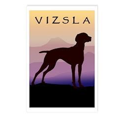 vizsla dog w/purple mountains Postcards (Package o