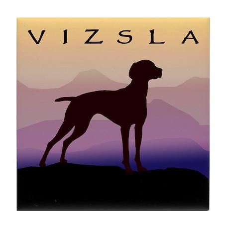 vizsla dog w/purple mountains Tile Coaster