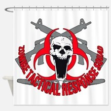 Zombie tactical response red Shower Curtain