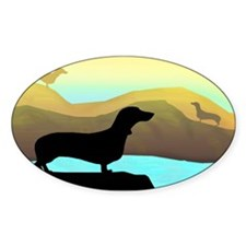dachshunds by the sea Oval Stickers