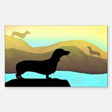 dachshunds by the sea Rectangle Decal