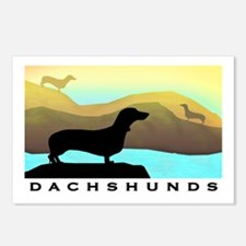dachshunds by the sea Postcards (Package of 8)