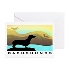 dachshunds by the sea Greeting Cards (Pk of 10