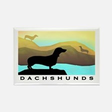 dachshunds by the sea Rectangle Magnet