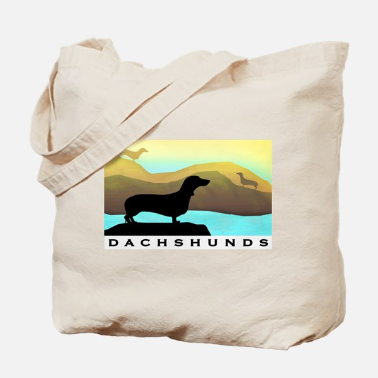 dachshunds by the sea Tote Bag