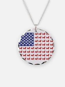 Patriotic Dachshund/USA Necklace