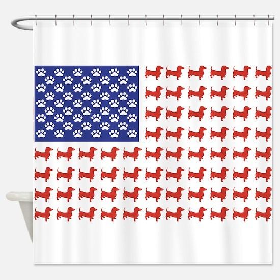 Patriotic Dachshund/USA Shower Curtain