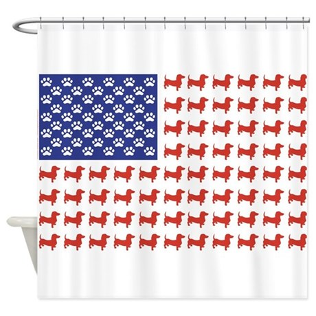 Patriotic Dachshund/USA Shower Curtain
