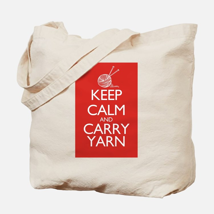 Cute Keep calm and carry yarn Tote Bag