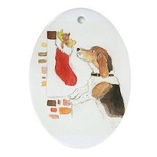 Cute Beagle christmas Ornament (Oval)