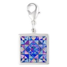 Blue Quilt Watercolor Silver Square Charm