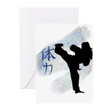 Round Kick 2 Greeting Cards (Pk of 10)