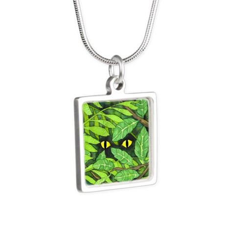 Through the Leaves Watercolor Silver Square Neckla