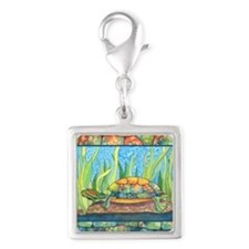 Turtle Tie Dye Watercolor Silver Square Charm